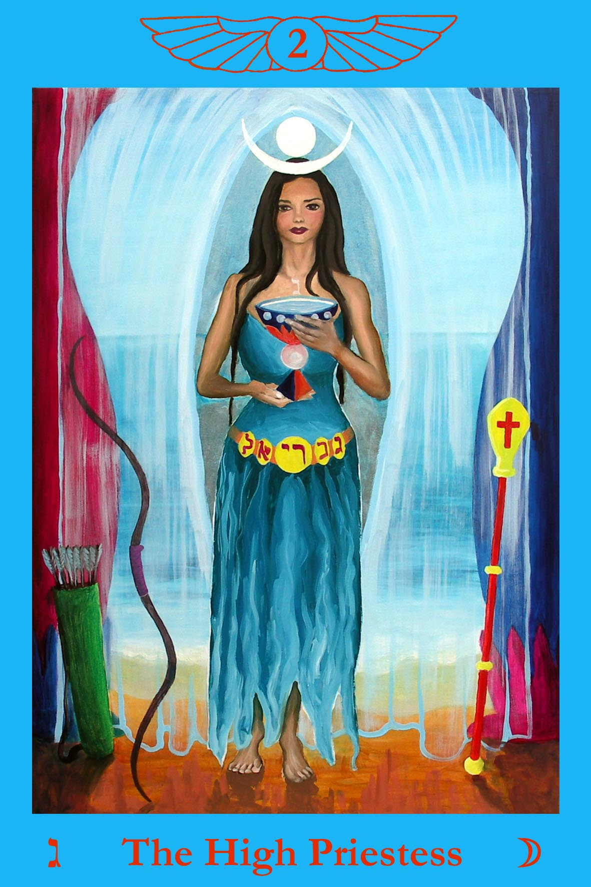 High Priestess Full Colorful Deck Major Stock Illustration: Living Tarot: The High Priestess